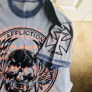 Affliction Shirts - Men's AFFLICTION Short Sleeve Skull Tee Xl